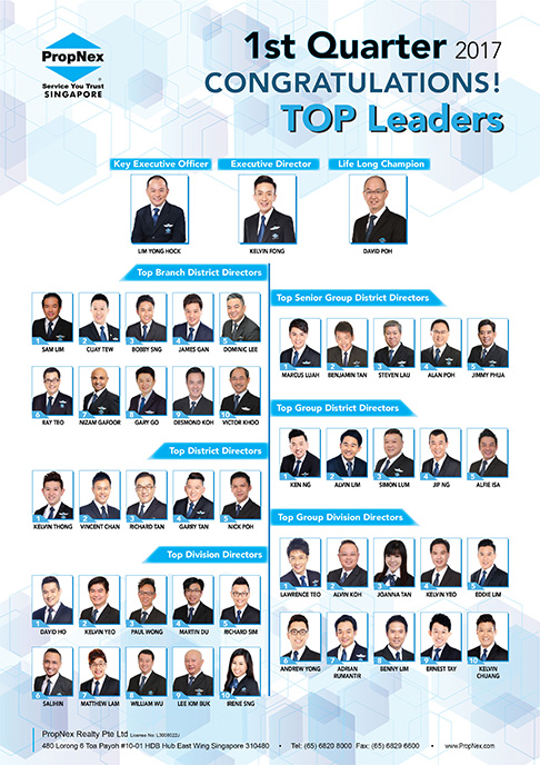 PropNex Singapore Top Property Real Estate Agents 1st Quarterly Convention 2017 Top Leaders