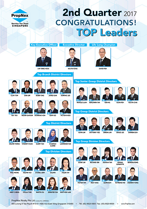 PropNex Singapore Top Property Real Estate Agents 2nd Quarterly Convention 2017 Top Leaders