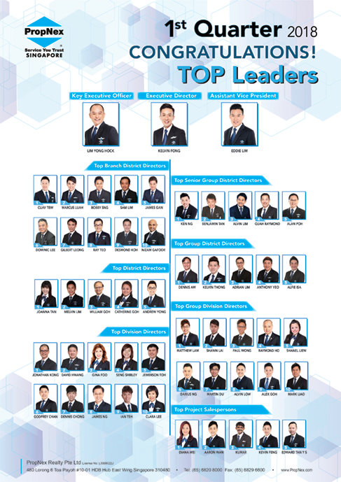 PropNex Singapore Top Property Real Estate Agents 1st Quarterly Convention 2018 Top Leaders