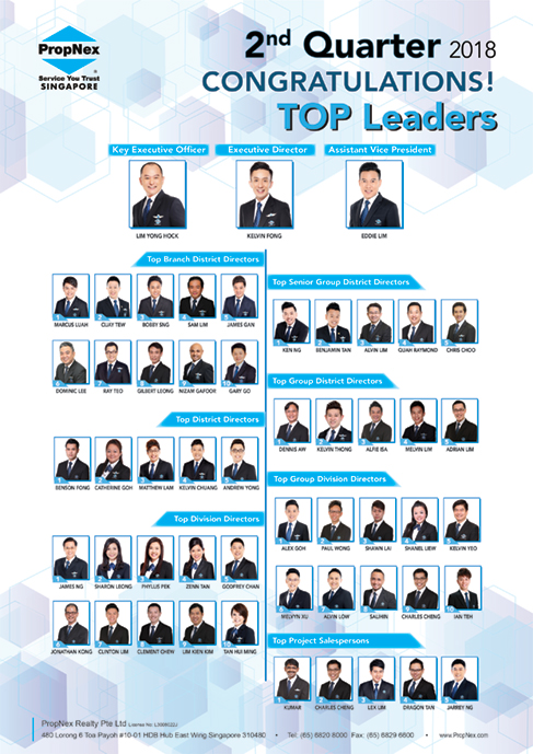PropNex Singapore Top Property Real Estate Agents 2nd Quarterly Convention 2018 Top Leaders