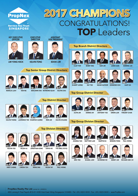PropNex Singapore Top Property Real Estate Agents - Annual Top Leaders for 2017