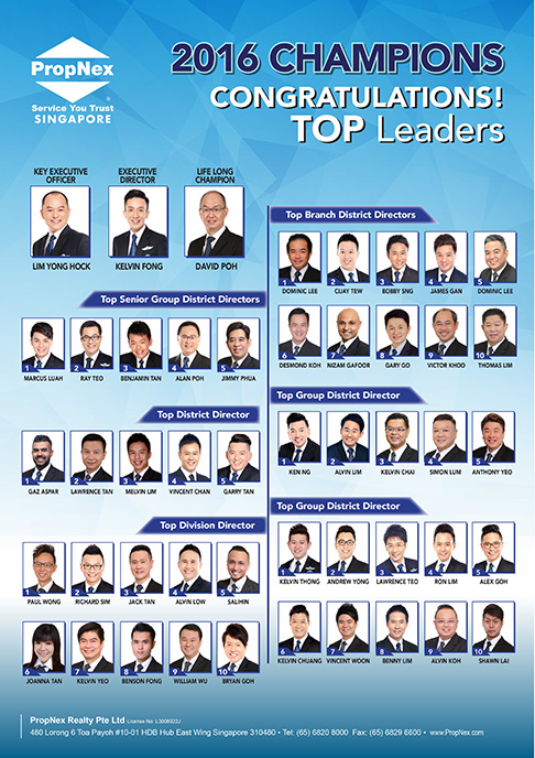 PropNex Singapore Top Property Real Estate Agents - Annual Top Leaders for 2016