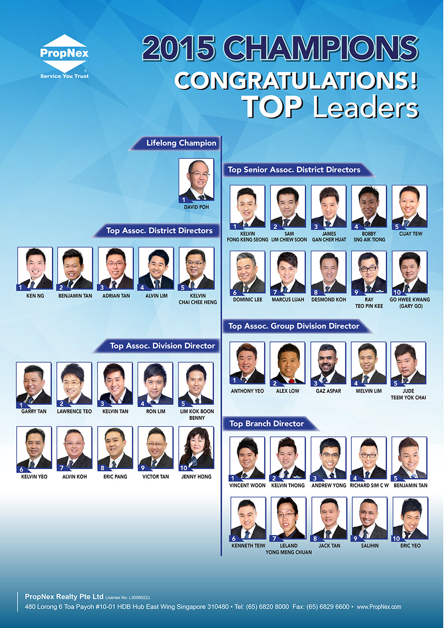 PropNex Singapore Top Property Real Estate Agents - Annual Top Leaders for 2015